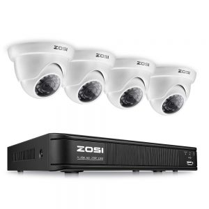 ZOSI 8-Channel HD-TVI 720P Video Security Camera System ,1080N Surveillance DVR Recorder and (4) 1.0MP 720P(1280TVL) Weatherproof Outdoor/Indoor Dome CCTV...