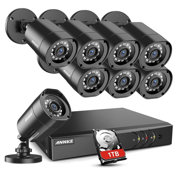ANNKE Home Security Camera System 8 Channel 1080P Lite DVR with 1TB HDD and (8) 1080P HD Outdoor IP66 Weatherproof CCTV Cameras, Smart Playback, Instant...