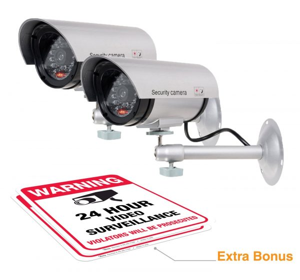 (2 Pack) Dummy Security Camera, Fake Bullet CCTV Surveillance System with Realistic Look Recording LEDs + Bonus Warning Sticker - Indoor/Outdoor Use, for...