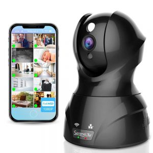 SereneLife Indoor Wireless IP Camera - HD 1080p Network Security Surveillance Home Monitoring w/ Motion Detection, Night Vision, PTZ, 2 Way Audio - iPhone...