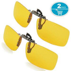 Clip-on Sunglasses, Splaks Unisex Polarized Frameless Rectangle Lens Flip Up Clip on Prescription Sunglasses Eyeglass, 2-Piece clip on glasses + Night...