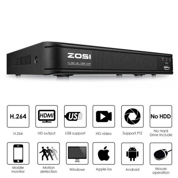 ZOSI 720P 8-Channel Home Security Camera System,1080N HD-TVI CCTV DVR Recorder and (4)1.0MP 720P(1280TVL) Night Vision Indoor/Outdoor Weatherproof...