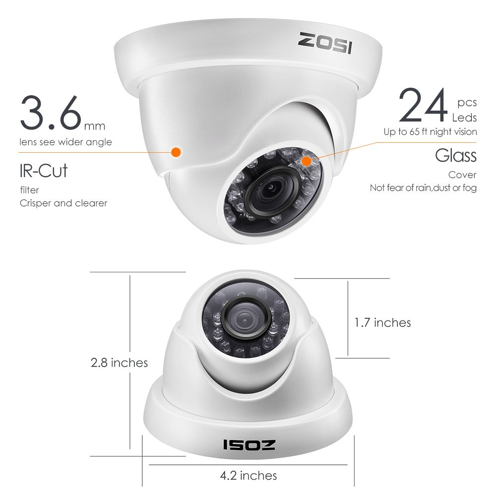 1080N Surveillance DVR ZOSI 8-Channel HD-TVI 720P Video Security Camera System